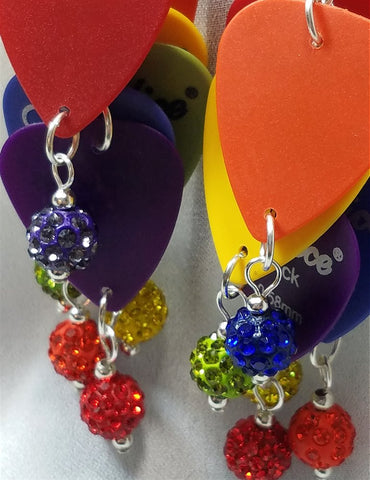 Cascading Rainbow Guitar Pick Earrings with Pave Beads
