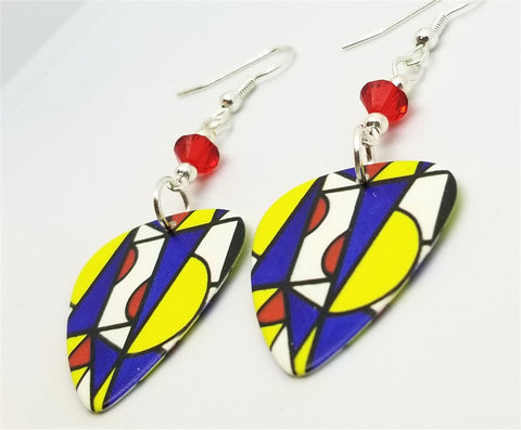 Abstract Art Guitar Pick Earrings with Red Swarovski Crystals