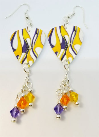 Purple and Yellow Hot Rod Flame Guitar Pick Earrings with Swarovski Crystal Dangles