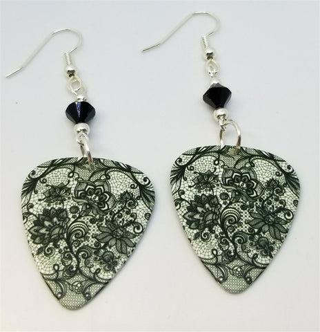 Black Lace Flowers Guitar Pick Earrings with Black Swarovski Crystals