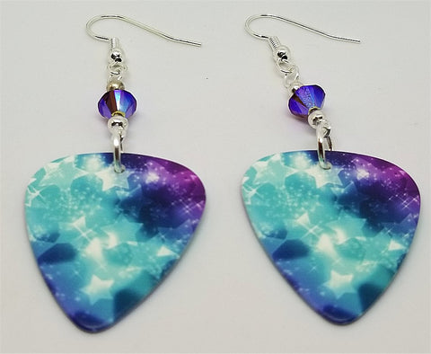 Purple and Blue Starry Guitar Pick Earrings with Purple AB Swarovski Crystals