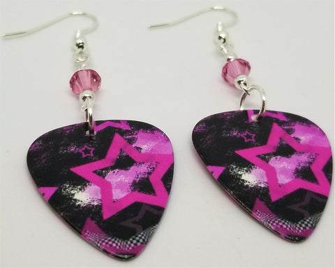 Pink Stars on Black Background Guitar Pick Earrings with Pink Swarovski Crystals