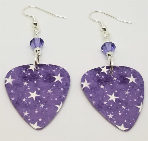 Purple Starry Guitar Pick Earrings with Purple Swarovski Crystals