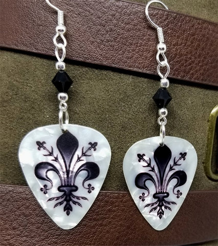 Fleur de Lis on White MOP Guitar Pick Earrings with Black Swarovski Crystals