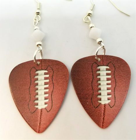 Football Guitar Pick Earrings with White Swarovski Crystals
