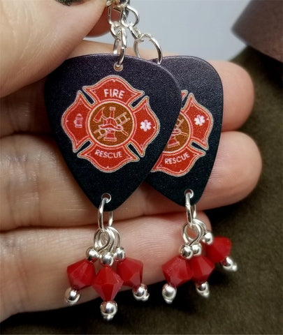 Fire Department Shield Charm Guitar Pick Earrings with Red Swarovski Crystal Dangles