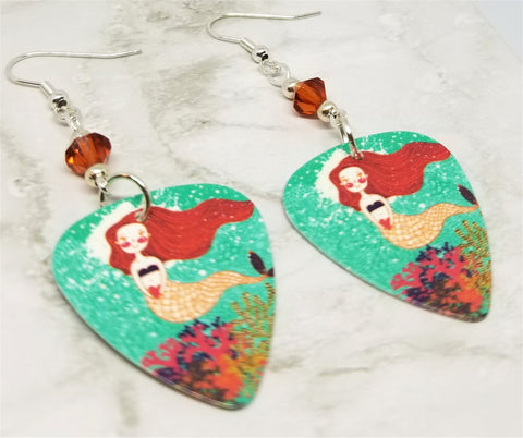 Mermaid Illustration Guitar Pick Earrings with Indian Red Swarovski Crystals