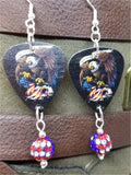 Bald Eagle and American Flag Guitar Pick with American Flag Pave Bead Dangles
