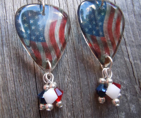 Transparent American Flag Guitar Pick Earrings with Crystals