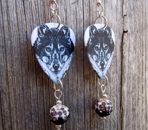 Black and White Wolf Guitar Pick Earrings with Black Ombre Pave Beads