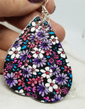 Colorfully Flowered Teardrop Shaped Real Leather Earrings