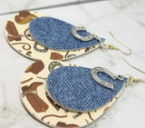 Cowboy Themed Faux Leather Earrings with a Denim Finish Tear Drop Shaped Real Leather Overlay and Horseshoe Charm