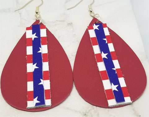 Red Americana Leather Earrings with Stars and Stripe Strips as an Overlay