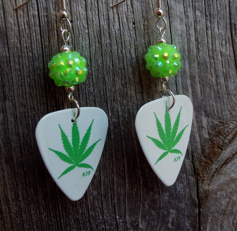 Marijuana Leaf Guitar Pick Earrings with Green Rhinestone Beads