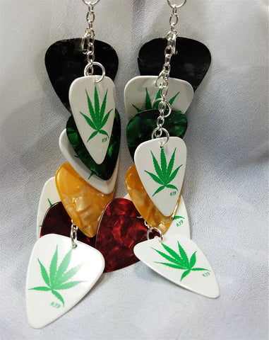 Marijuana Leaf and Various Colors Cascading Guitar Pick Earrings