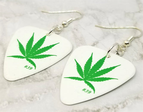 Marijuana Leaf on White Guitar Pick Earrings