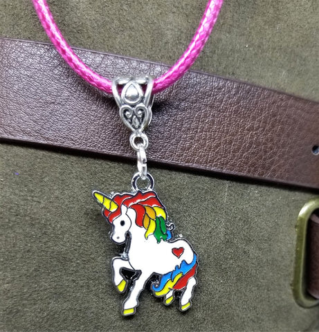 Unicorn Charm on a Pink Rolled Cord Necklace