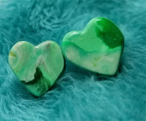 Green and White Marbled Polymer Clay Post Earrings