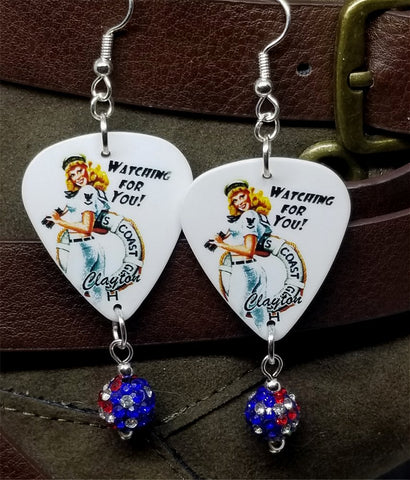 Coast Guard Pin Up Girl Guitar Pick Earrings with American Flag Pave Bead Dangles