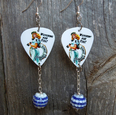 Coast Guard Pin Up Girl Guitar Pick Earrings with Striped Rhinestone Dangles