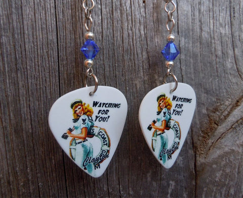 Coast Guard Pin Up Girl Guitar Pick Earrings with Blue Swarovski Crystals
