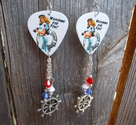Coast Guard Pin Up Girl Guitar Pick Earrings with Crystal Dangles