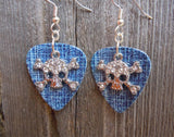 Crystal Skull and Crossbones Charm Guitar Pick Earrings - Pick Your Color