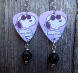 Cool Snoopy with Sunglasses Guitar Pick Earrings with Black Pave Beads