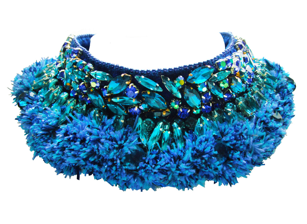 Luxury Coco collar by Jolita Jewellery, adorned with ornate crystal embroidery and colourful yarns.