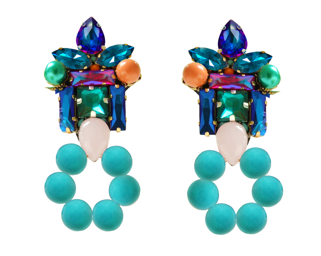 Thea earrings with pearl hoop turquoise
