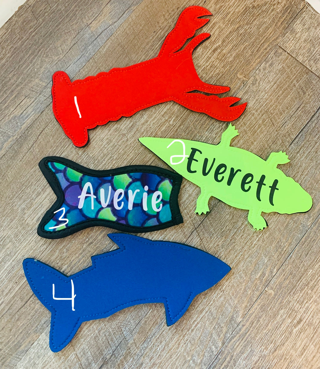 Popsicle koozies in fun shapes! Personalized popsicle holders! Lobster, alligator, shark, mermaid - Mavictoria Designs Hot Press Express