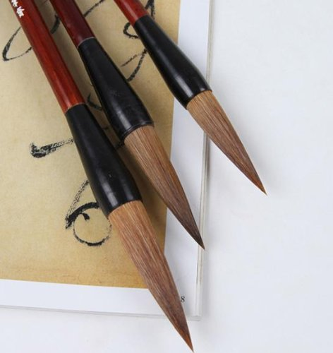 Master Chinese Calligraphy Kanji Sumi Drawing Watercolor Brush Collection (Large - Wolf Hair) - Set of 3