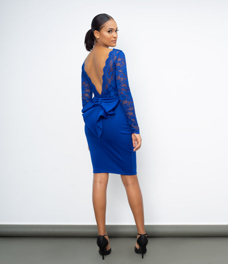 Blue Open back lace midi dress with bow detail