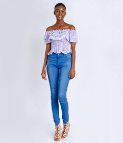 Ruffle Elastic Off-Shoulder Top