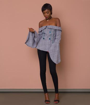 Plaid Off-Shoulder Bell Sleeve Top