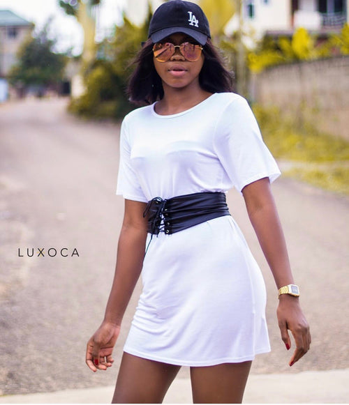 White T-shirt Dress with Corset Belt