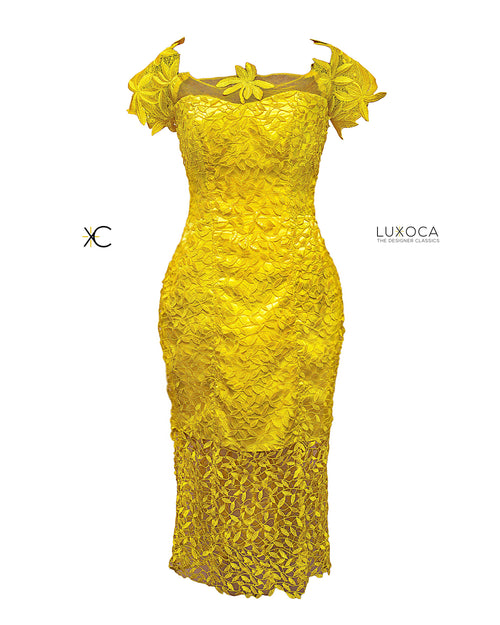 House of Damaris Yellow Lace Midi Dress