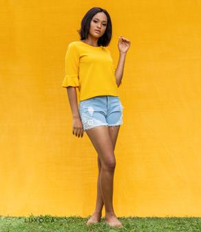 Yellow Mellow Bell Sleeves Top