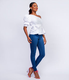 One shoulder sleeve peplum top