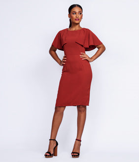 April Rust Fitted Dress