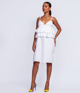 White Midi Pencil Dress