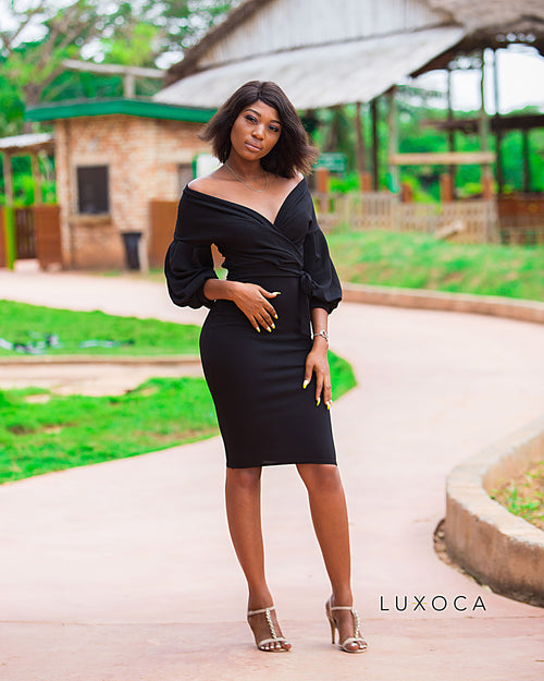 Black Off Shoulder Bishop Sleeve Dress