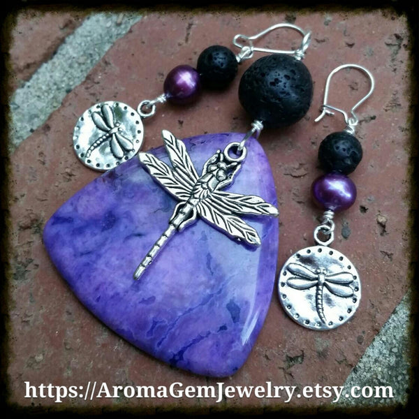 Essential oil diffuser earrings - purple cultured pearl - dragonfly - Sterling Silver earwire