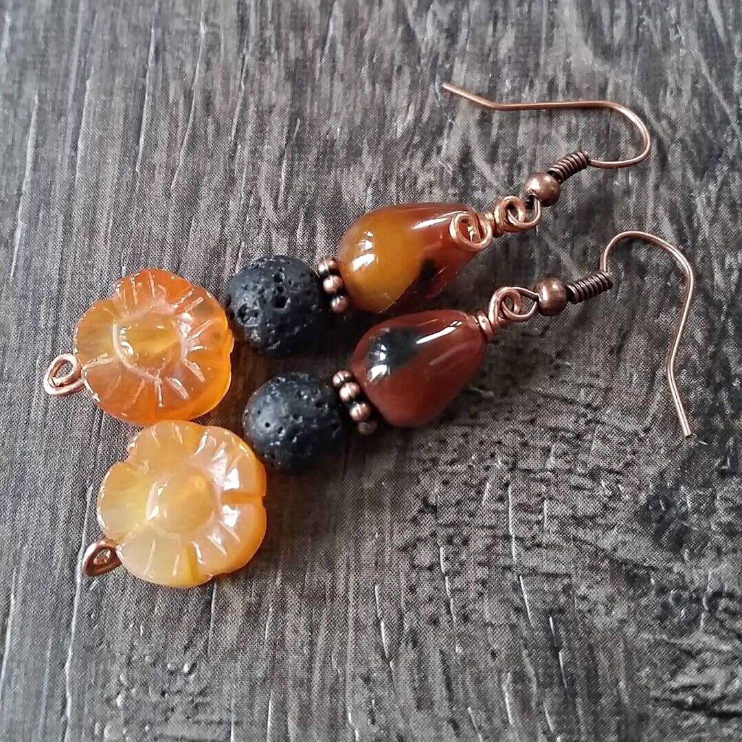 Essential oil diffuser earrings - Fall agate flowers