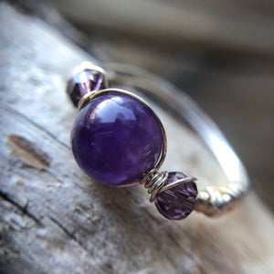 Amethyst wire wrapped ring size 7