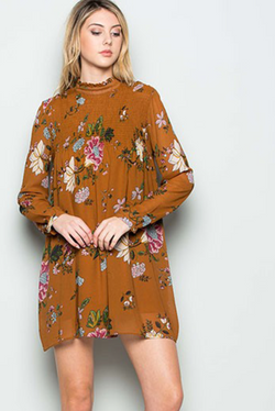 Mustard Floral Dress or Tunic