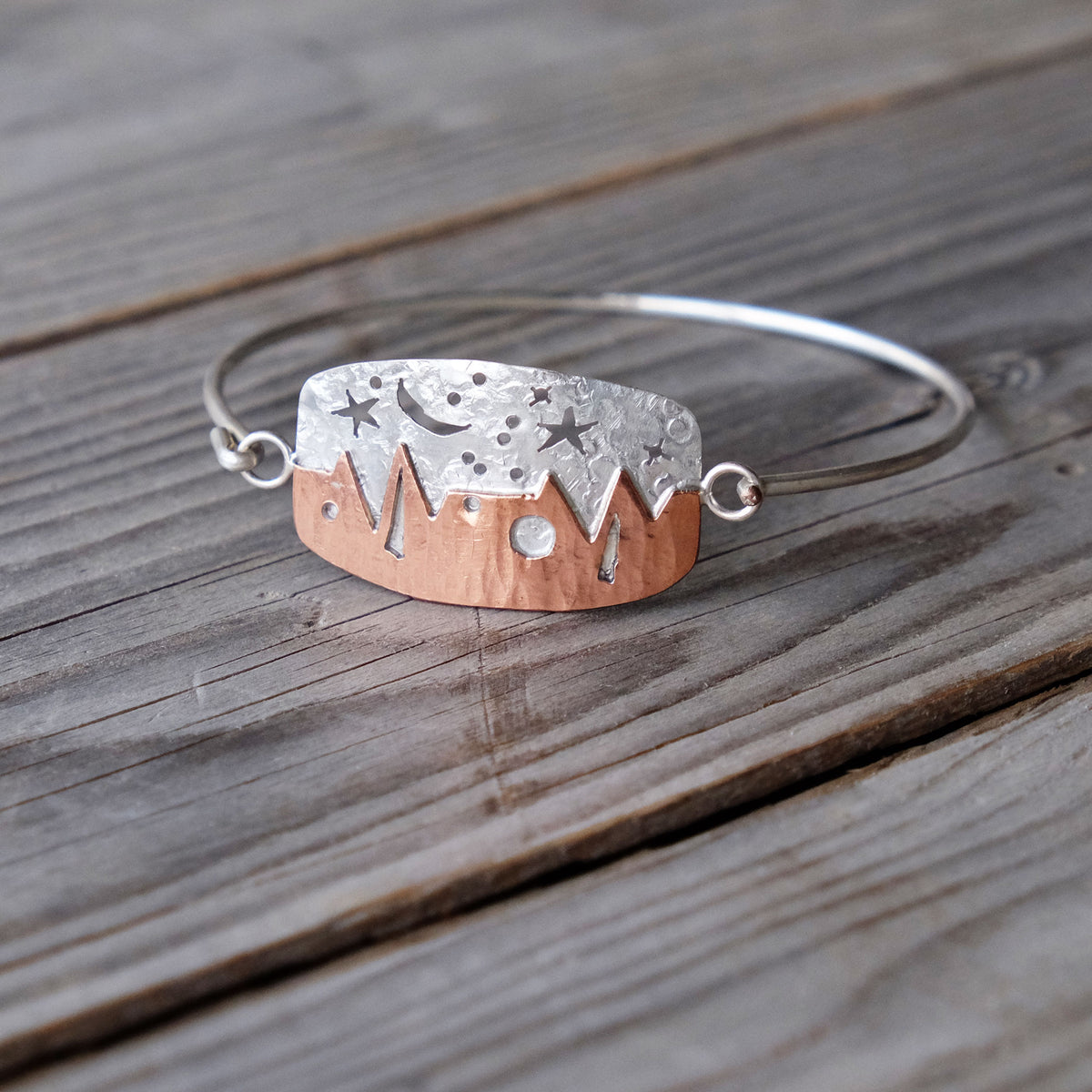 Heartbeat Mountains Hinged Bracelet