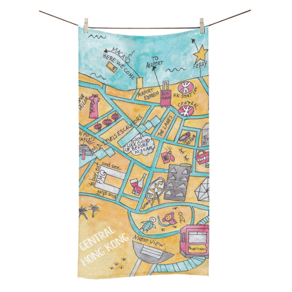 Petit Crayon Studio Hong Kong Central Map beach towel, perfect hong kong gift, kids gifts souvenirs from hong kong, where to buy hong kong souvenirs gifts