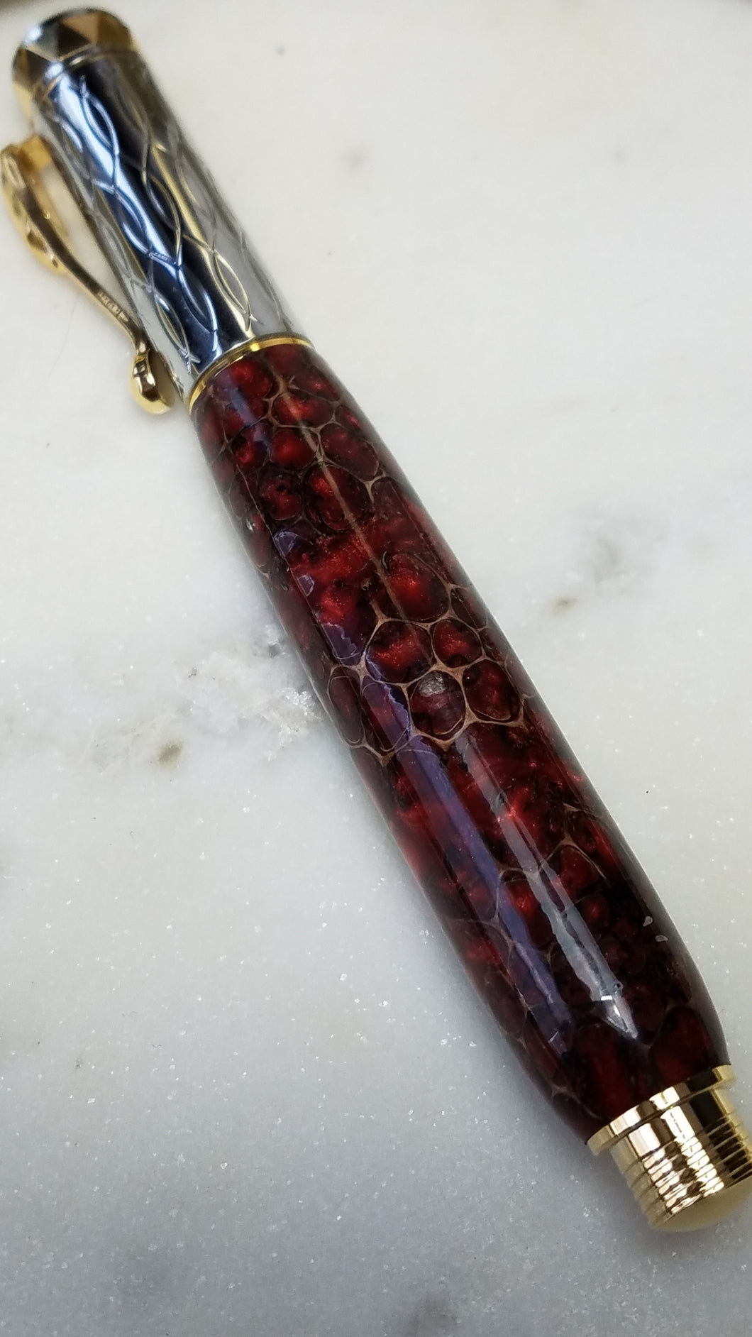 Sweetgum Pod Pen Casted in Red Dyed Resin