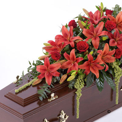 Lily and Rose Casket Spray - Red - Ramsbothams Florists Milton Keynes